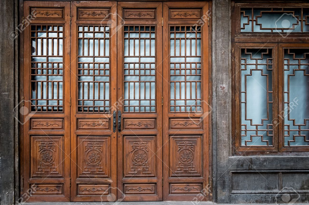 Old and traditional Chinese folding doors. Stock Photo - 35401552 & Old And Traditional Chinese Folding Doors. Stock Photo Picture And ...