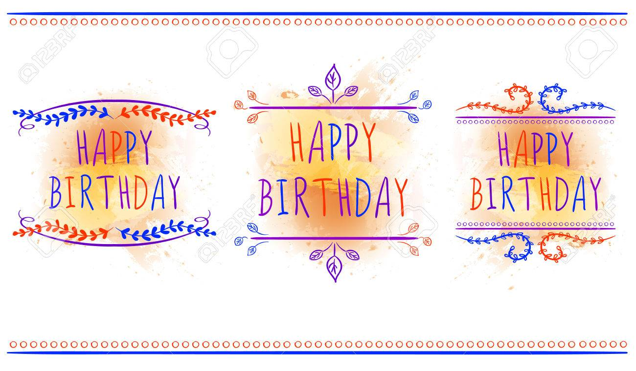 happy birthday card templates hand drawn letters and vintage