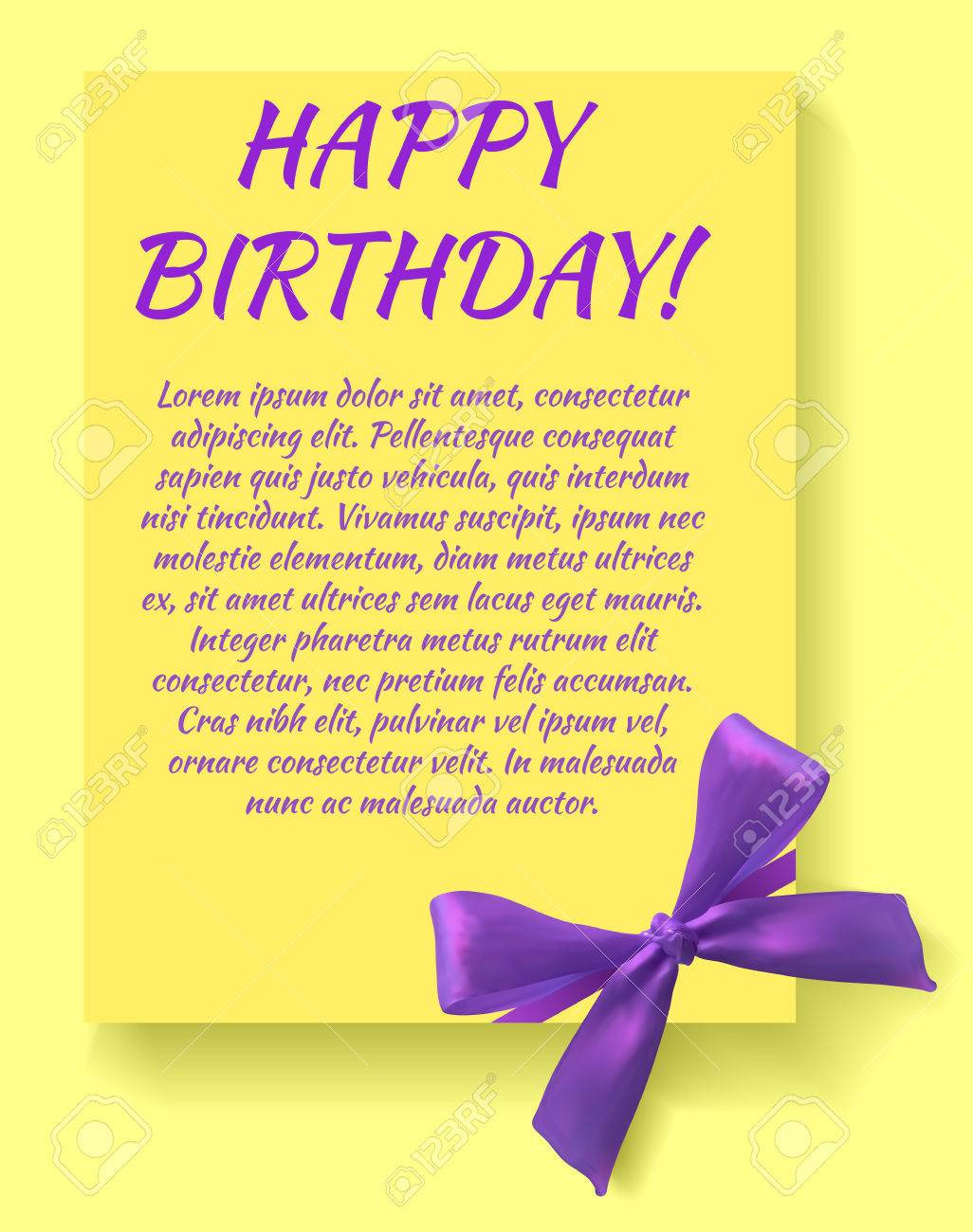 Birthday Party Invitation Card Template With Purple Bow Yellow