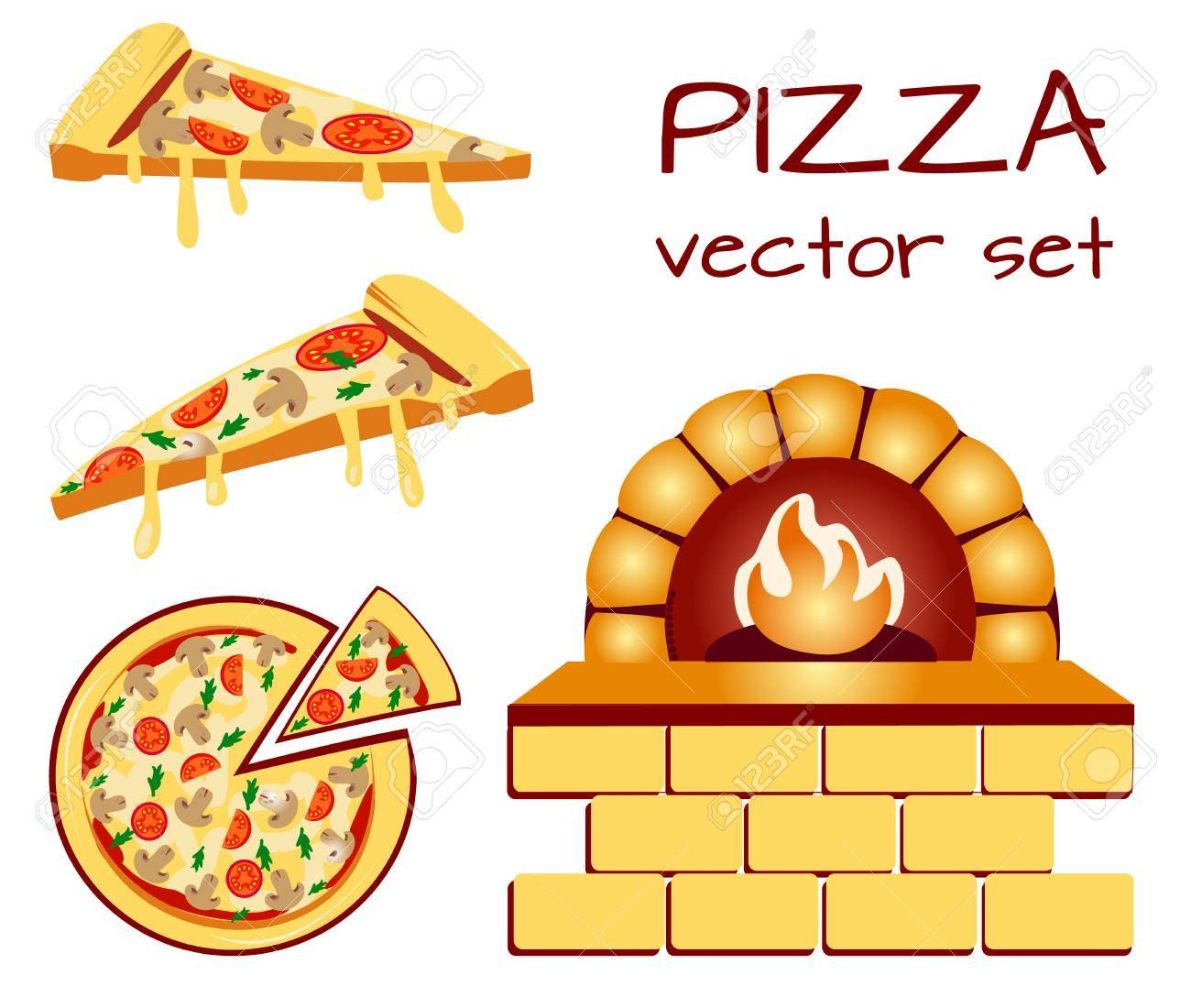 Set Of Pizza Menu Icons Food Icons Packaging Symbols Vector
