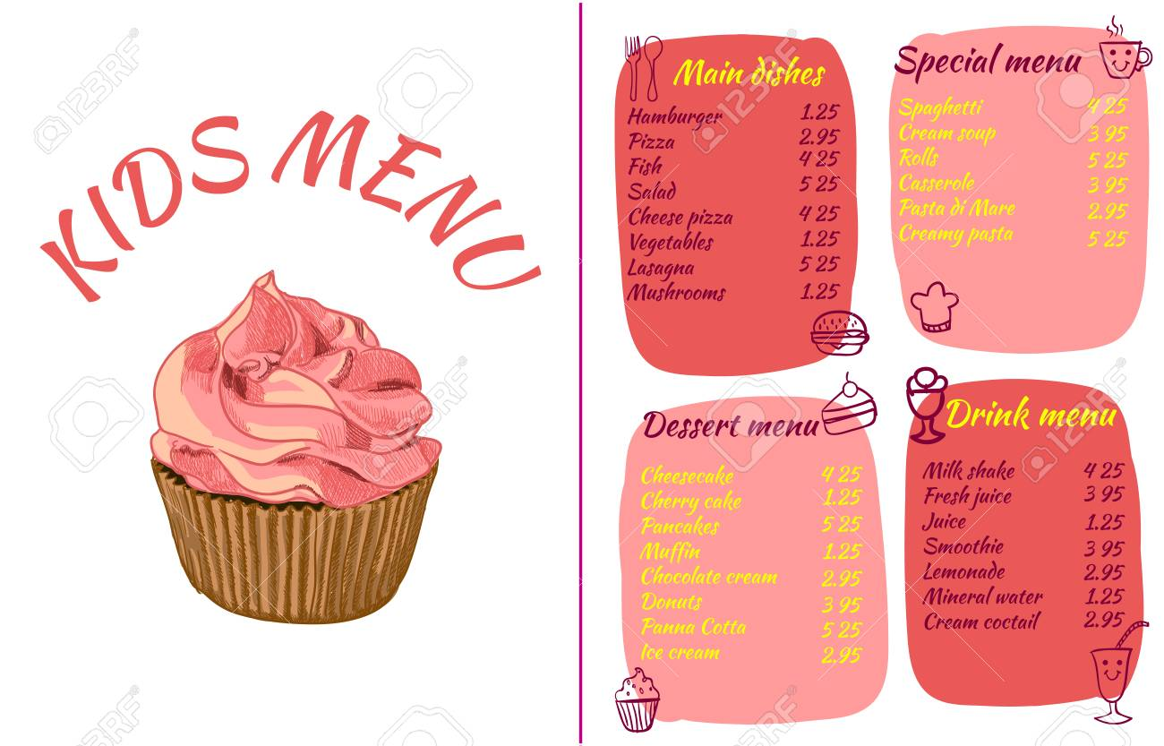 kids menu template colorful vector illustration with hand drawn
