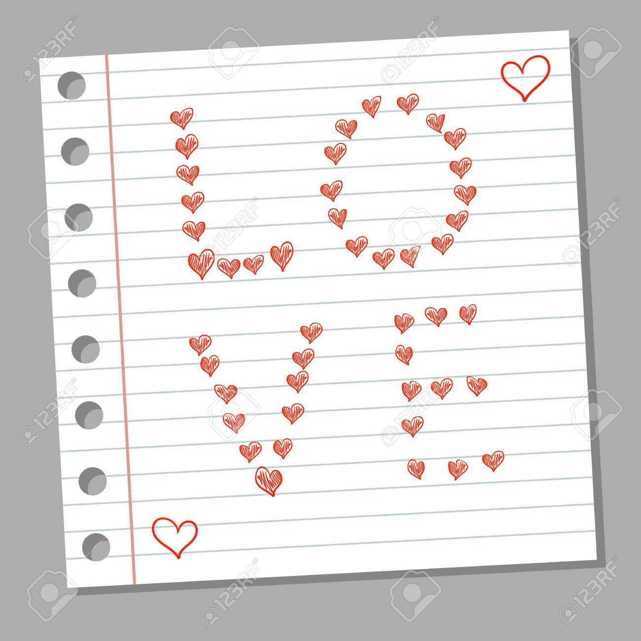 doodle hearts and word love on notebook page royalty free cliparts
