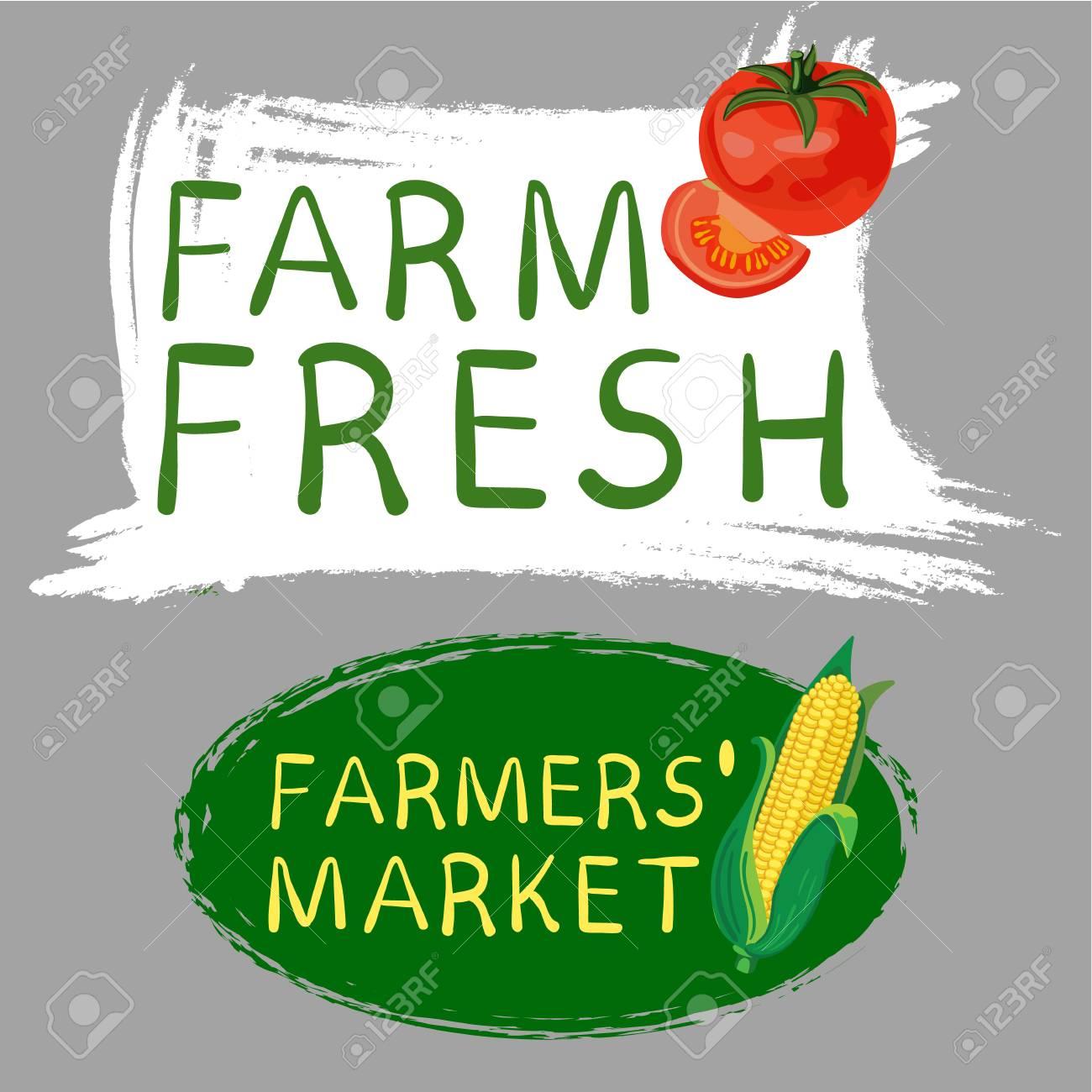 A Farmers market fresh food and vegan food logo  Hand drawn illustrations