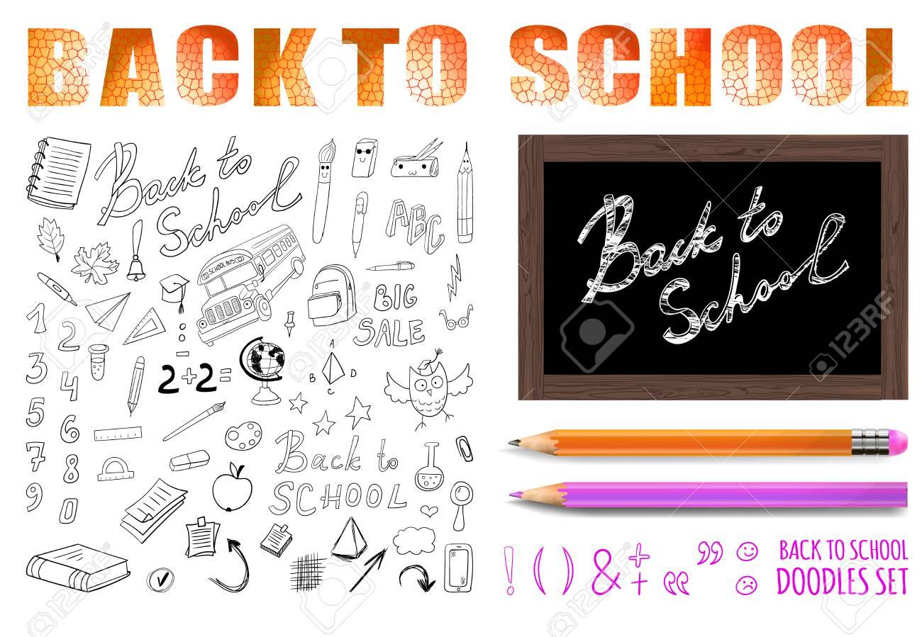 Retour à L école Vector Sertie D Un Crayon Réaliste Et Coloré Collection De Dessins De Doodle