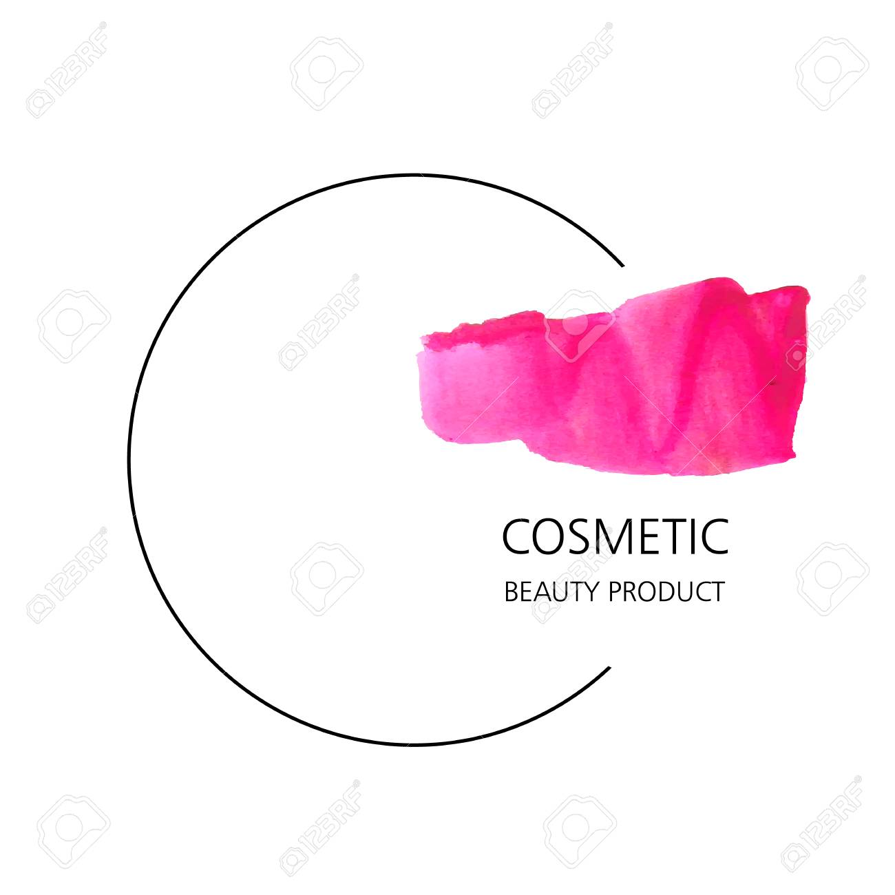 cosmetic product vector icon template with drawn smear of lipstick