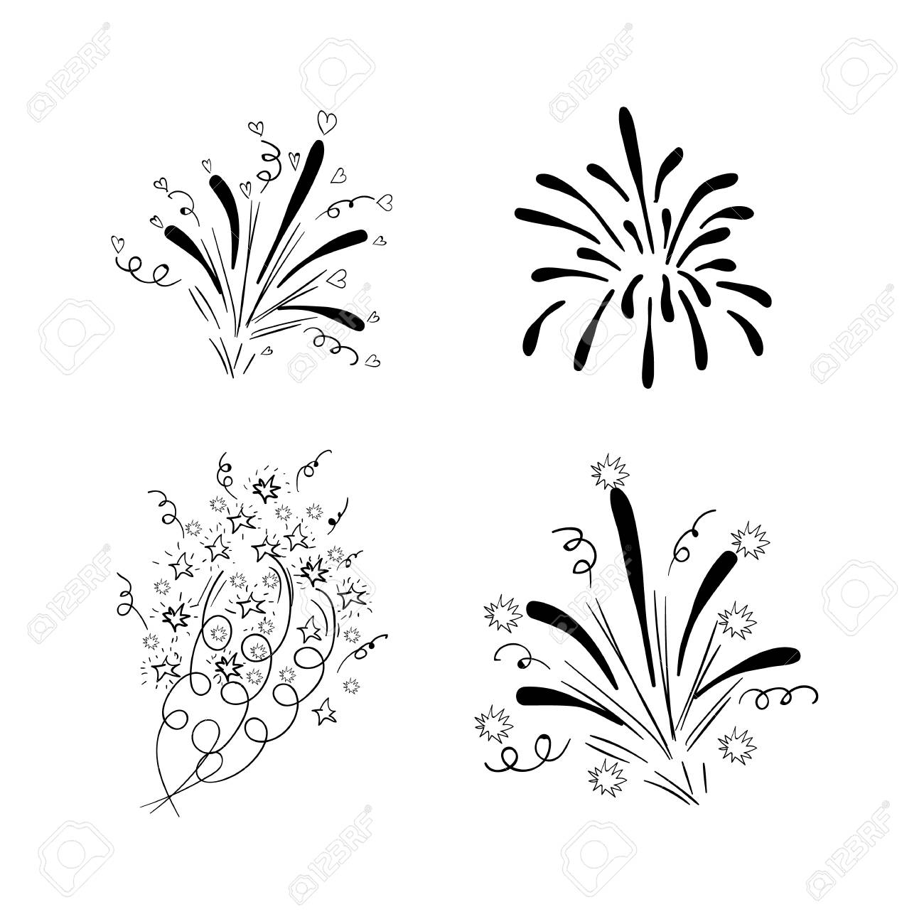 a vector drawn firework explosions black drawings isolated on white background birthday wedding new