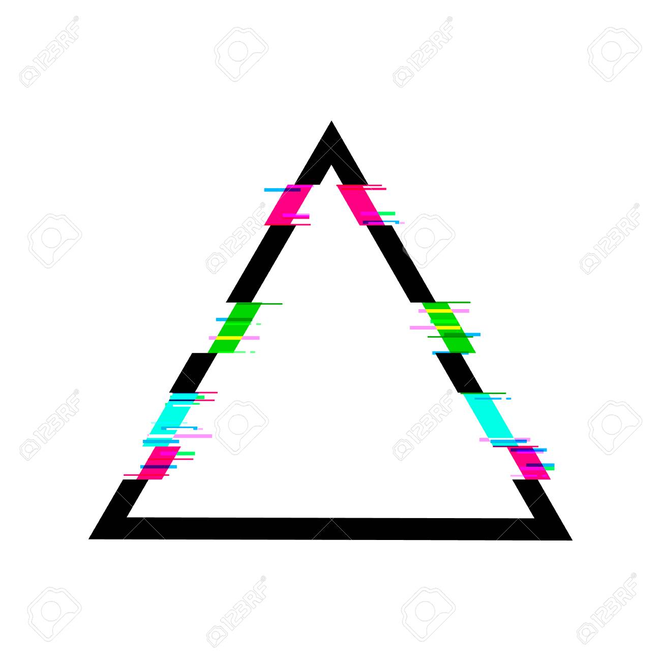 Glitched Triangle VECTOR Frame, Isolated On White Background ...