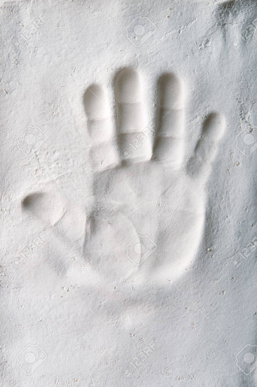 Handprint Of A Baby In The Plaster Stock Photo, Picture And Royalty ...