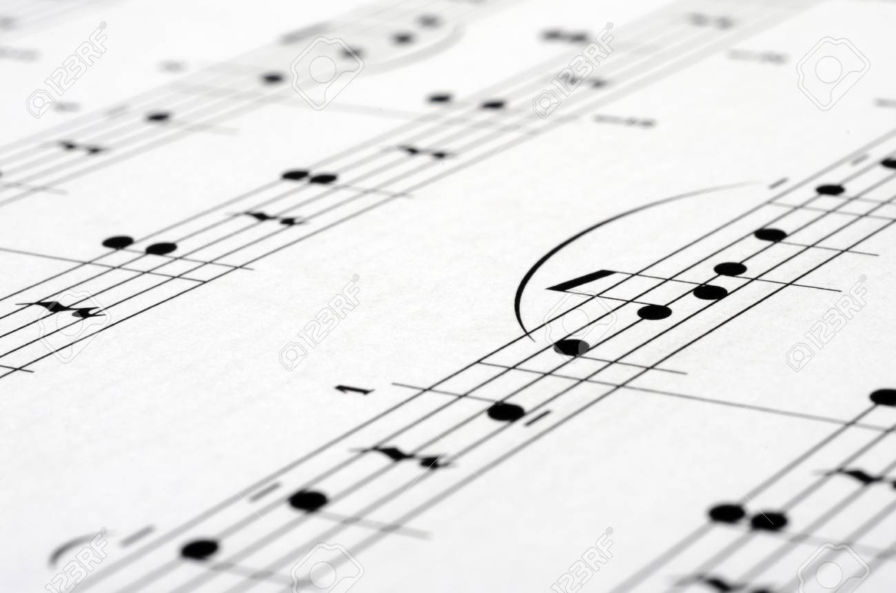 Music notes score background, piano score, close up
