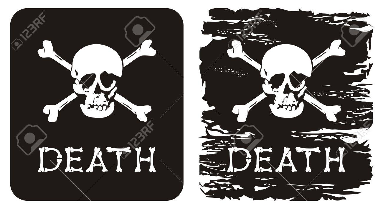 Vector Illustration Of Skull Crossbones And Word Death Royalty