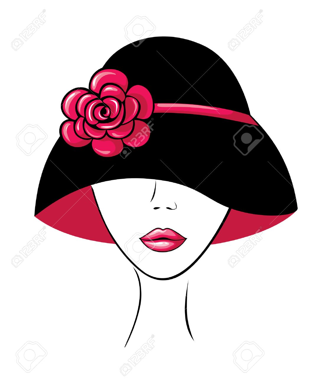Woman in a Hat with Flower Stock Vector - 5188377