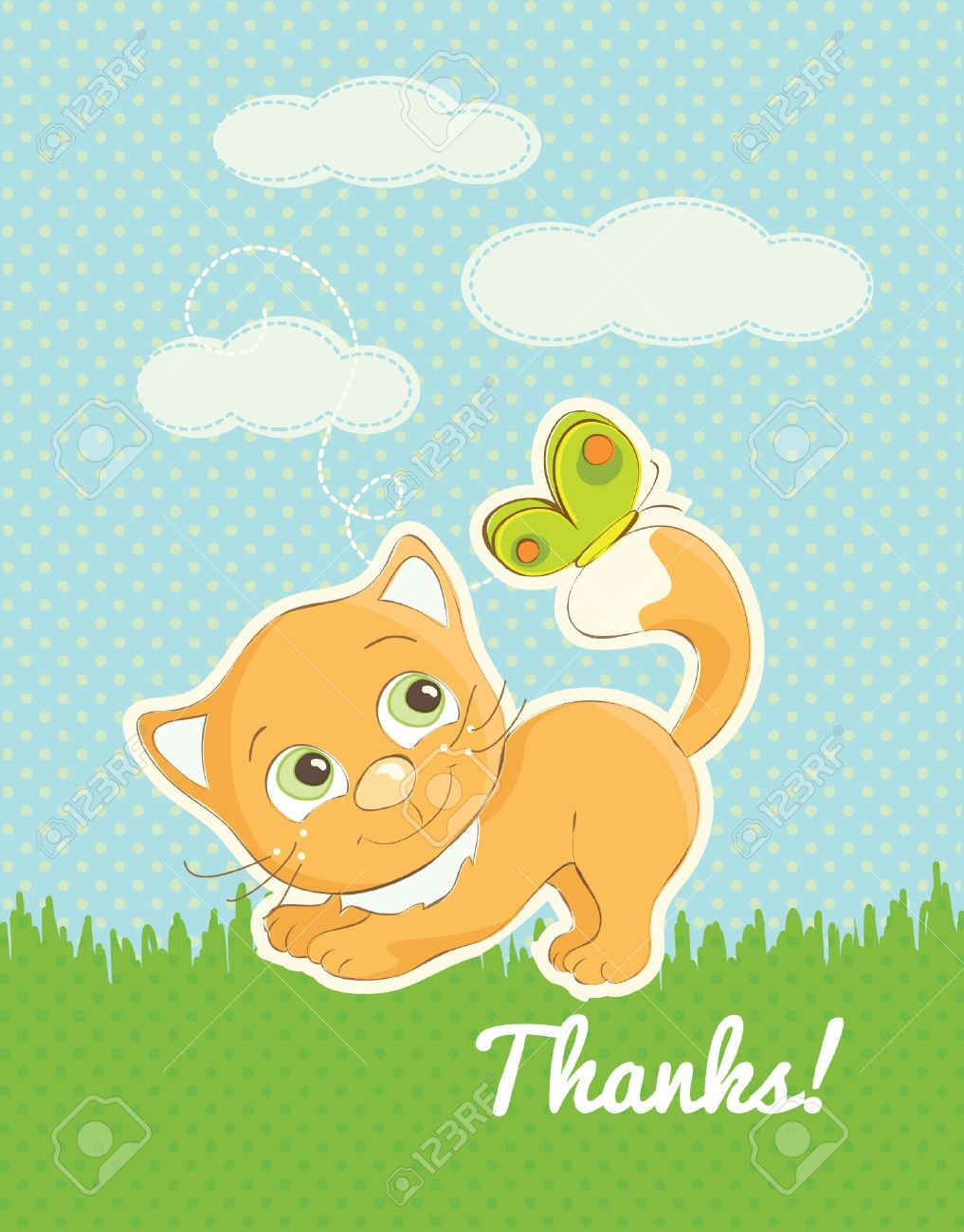かわいい猫のイラストありがとうカード ロイヤリティフリークリップ
