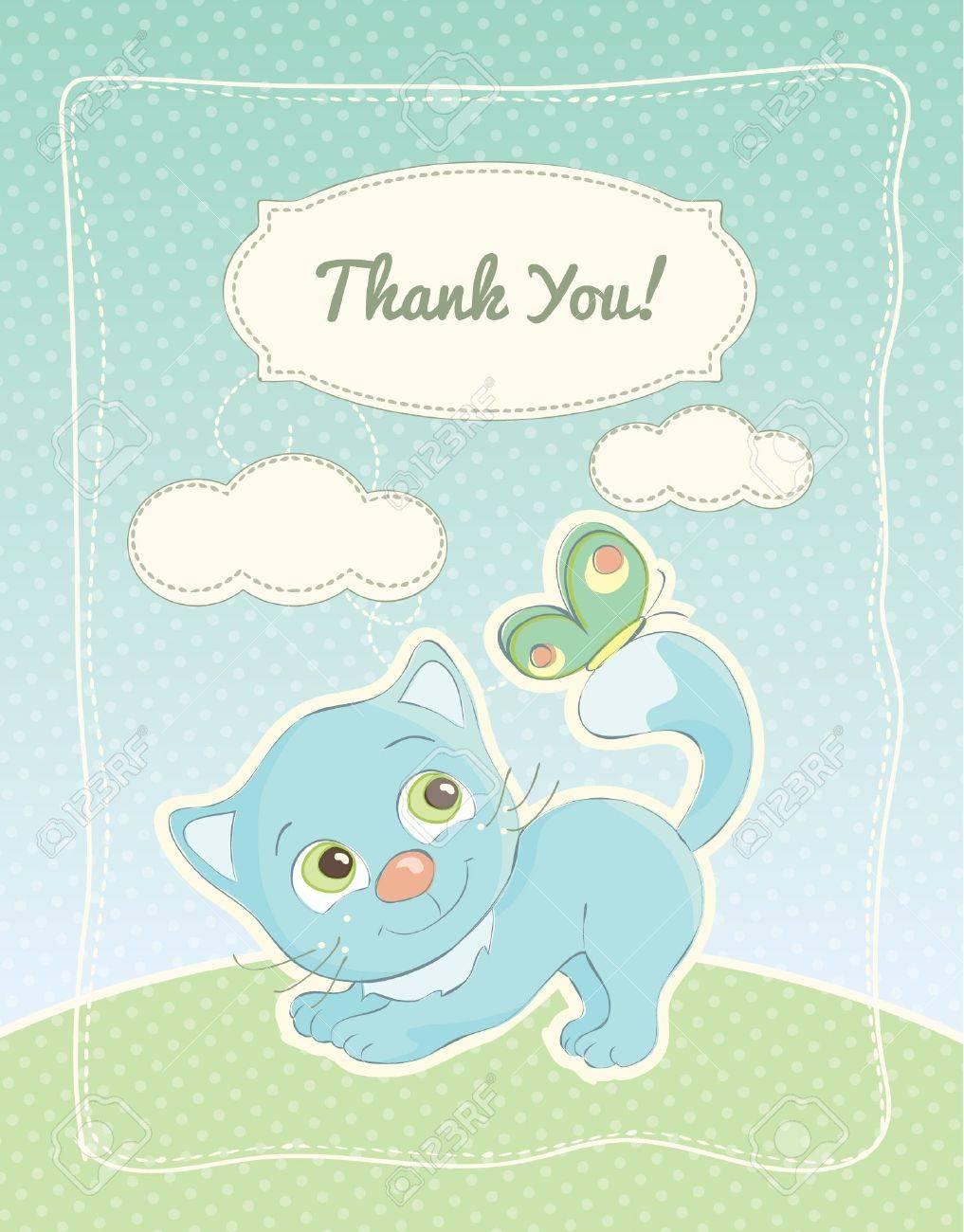 Baby boy thank you standard postcard Stock Vector - 22176587