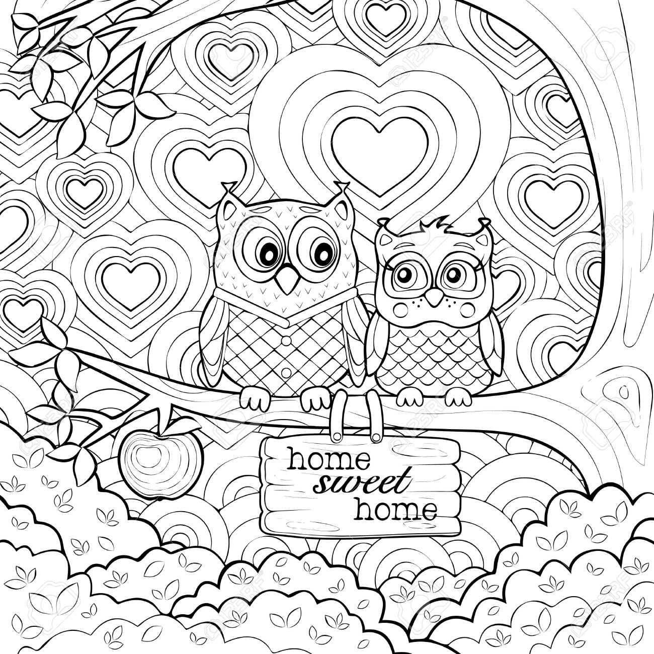 cute owls art therapy adult coloring page stock vector 46905340
