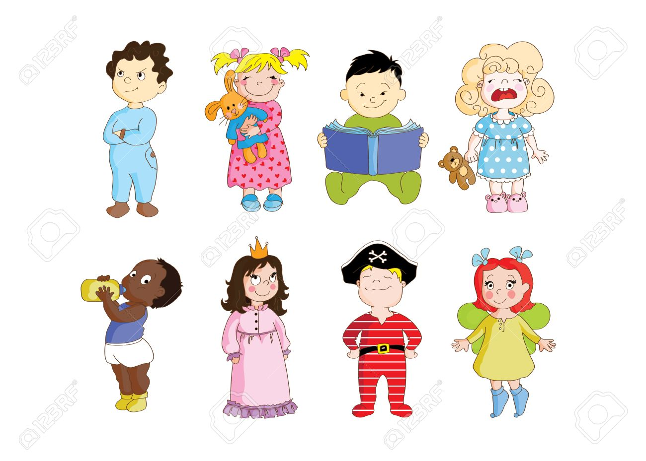 カラフルなクリップ アート セット幼児のパジャマを着て、寝る準備し