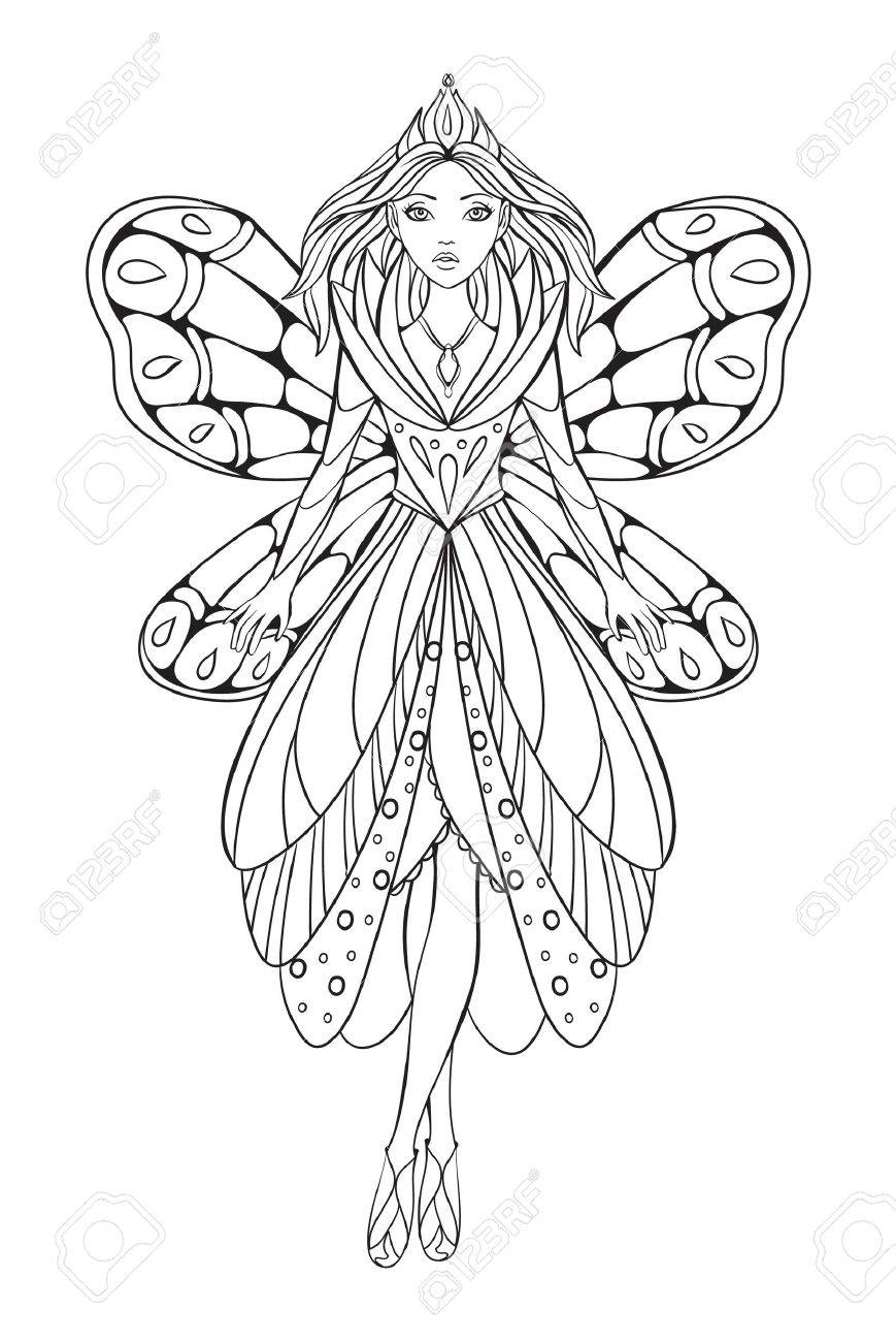 Vector illustration of a beautiful flower fairy queen for an adult coloring art therapy book - 58079085