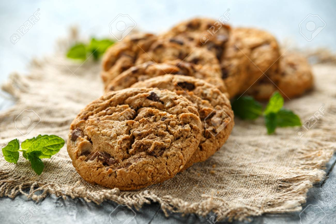 Delicious Double chocolate chip cookies with mint. - 120217571