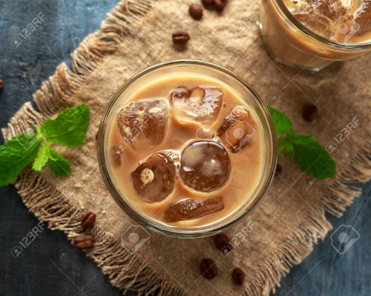iced latte coffee in a glass with cold milk. Summer drink - 120741901
