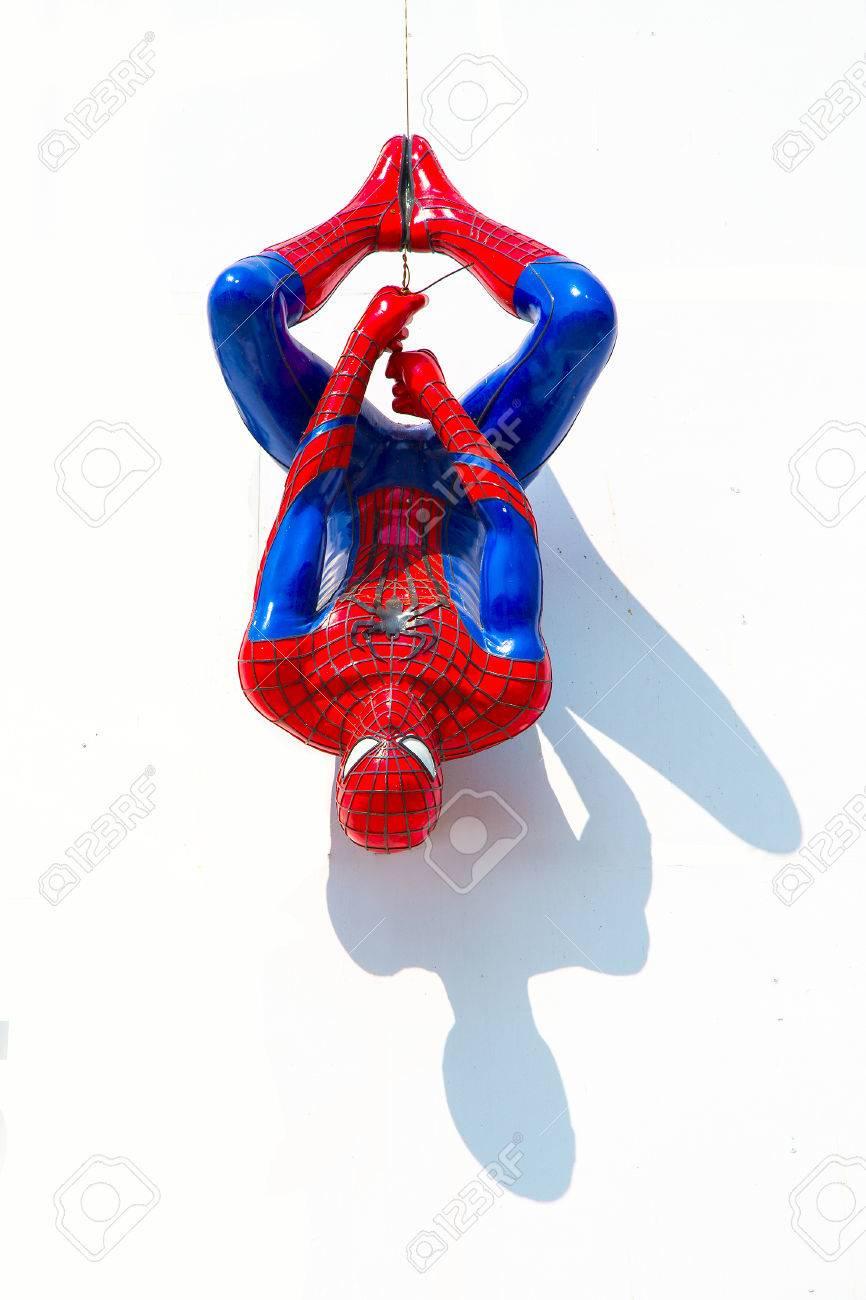 ayuttaya thailand december 30 2014 spider man model upside