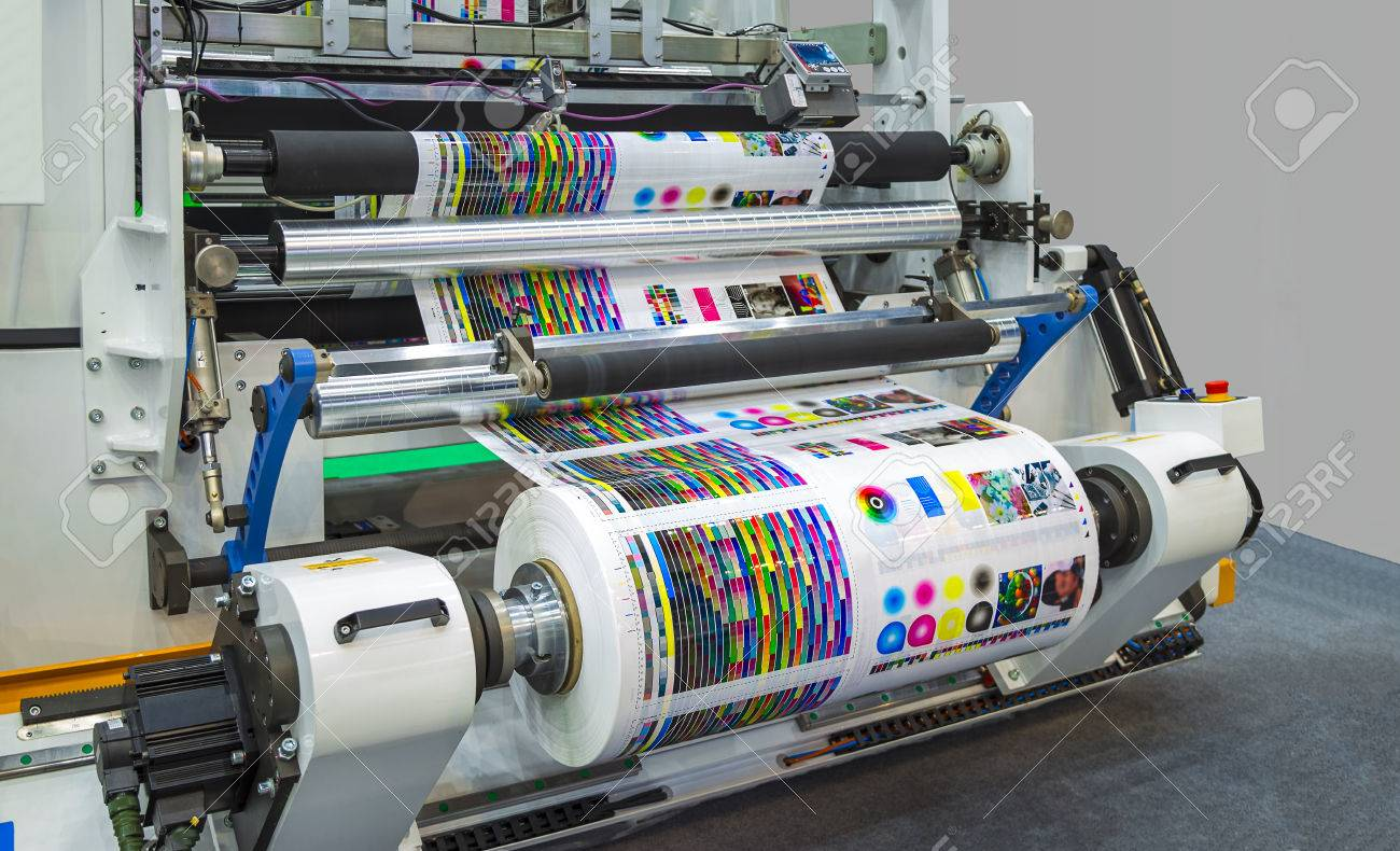 Large Offset Printing Press Or Magazine Running A Long Roll Off ...