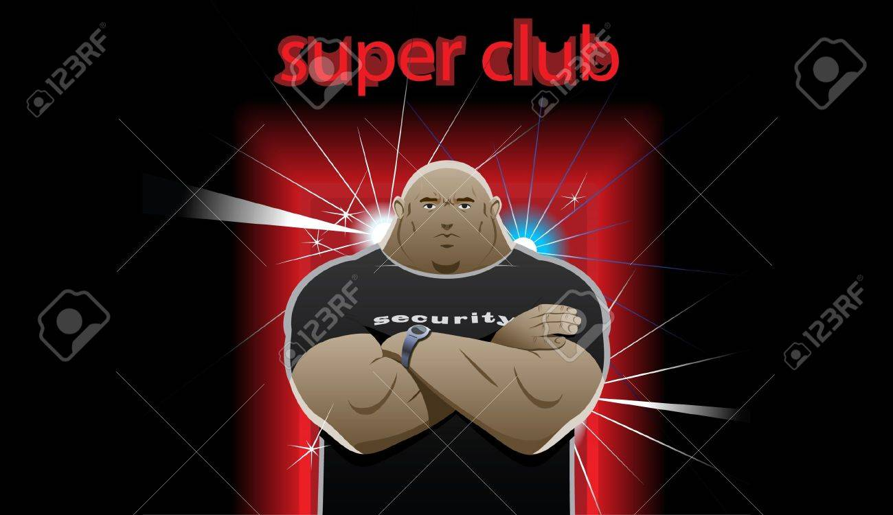 security guard stands in front of the super club, crossed his arms over his chest Stock Vector - 9369634