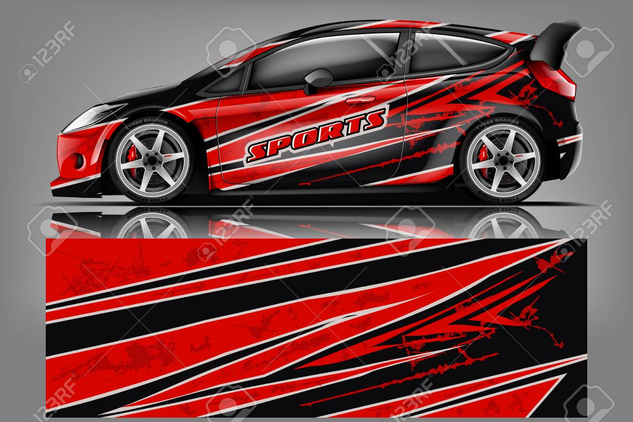 Car decal wrap design vector. Graphic abstract stripe racing background kit designs for vehicle, race car, rally, adventure and livery - Vector - 121081177