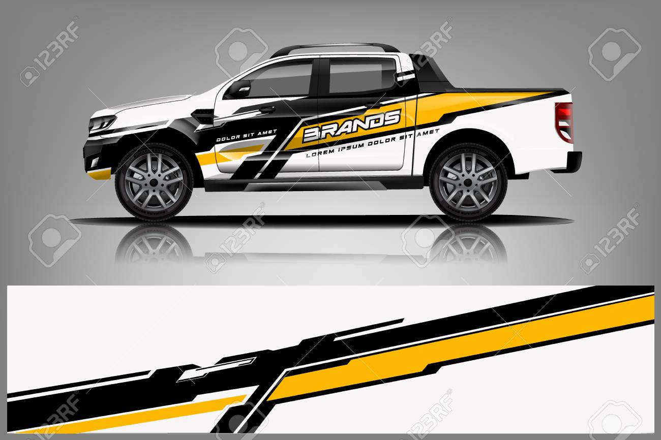Truck wrap design for company decal wrap and sticker vector eps10