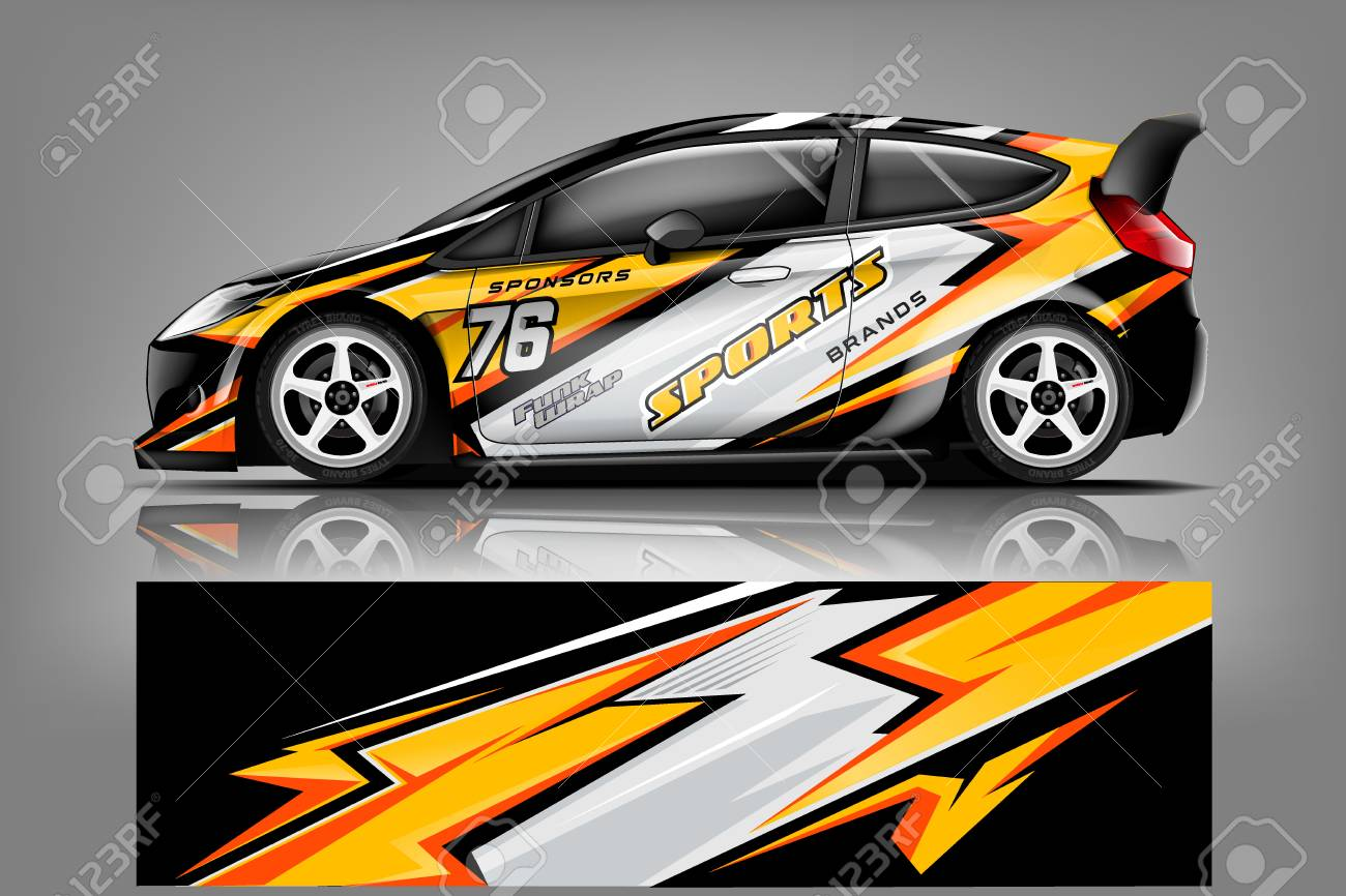 Car decal wrap design vector. Graphic abstract stripe racing background kit designs for vehicle, race car, rally, adventure and livery - Vector - 121082102