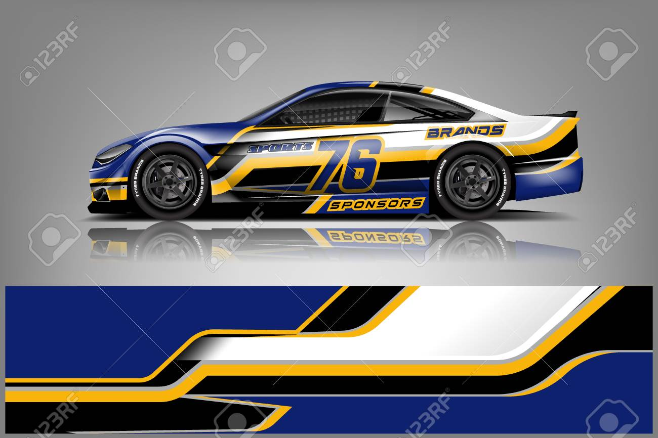 Car decal wrap design vector graphic abstract stripe racing background kit designs for vehicle