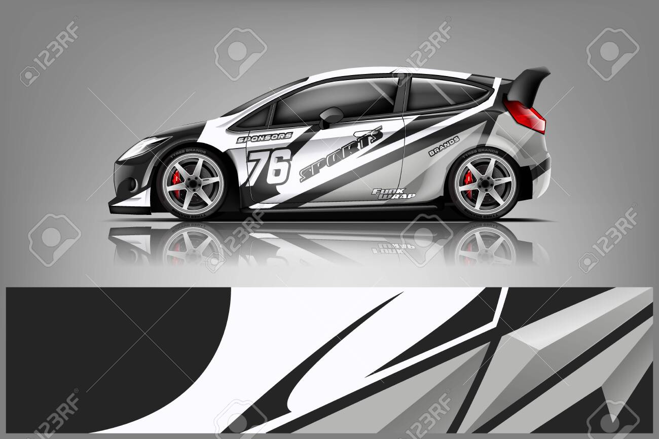 Car decal wrap design vector. Graphic abstract stripe racing background kit designs for vehicle, race car, rally, adventure and livery - Vector - 125574403
