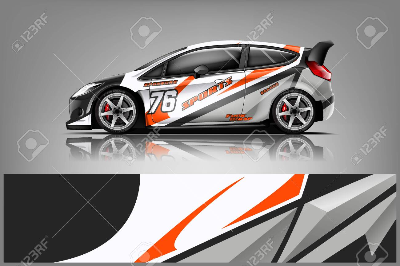 Car decal wrap design vector. Graphic abstract stripe racing background kit designs for vehicle, race car, rally, adventure and livery - Vector - 125574407