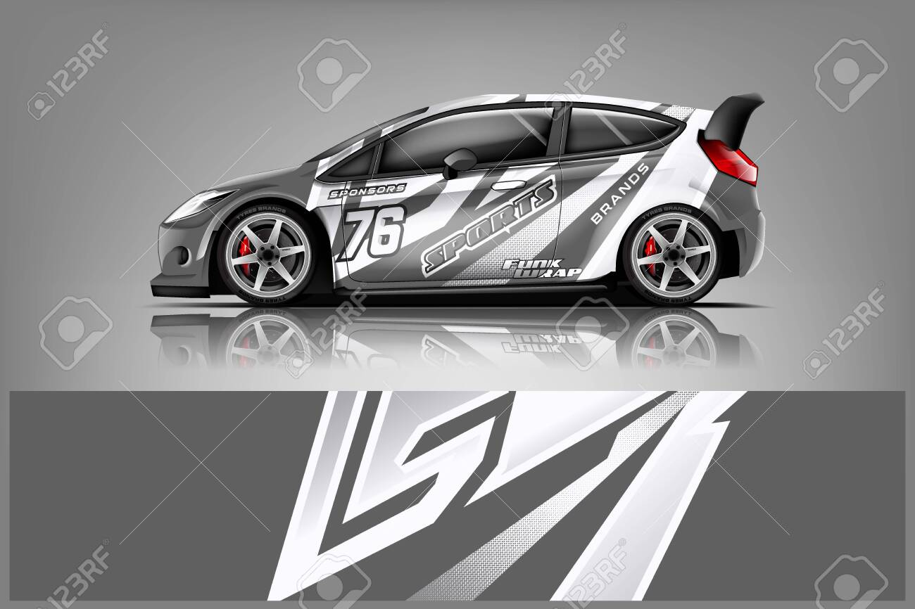 Car decal wrap design vector. Graphic abstract stripe racing background kit designs for vehicle, race car, rally, adventure and livery - Vector - 125574411