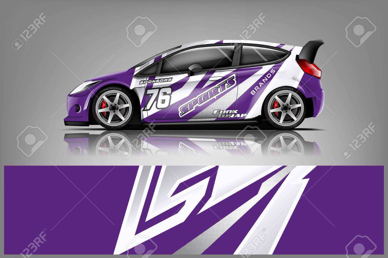Car decal wrap design vector. Graphic abstract stripe racing background kit designs for vehicle, race car, rally, adventure and livery - Vector - 125574412