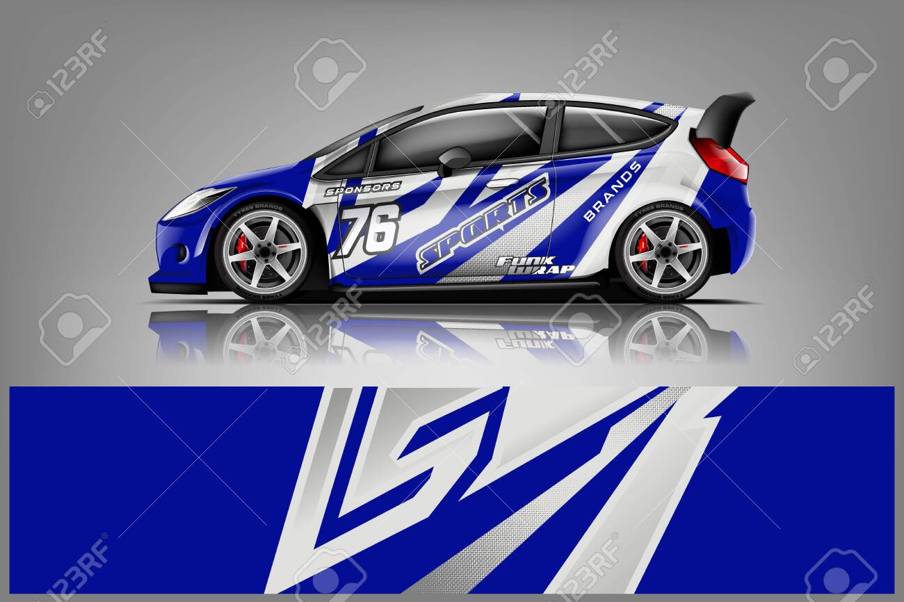 Car decal wrap design vector. Graphic abstract stripe racing background kit designs for vehicle, race car, rally, adventure and livery - Vector - 125574453