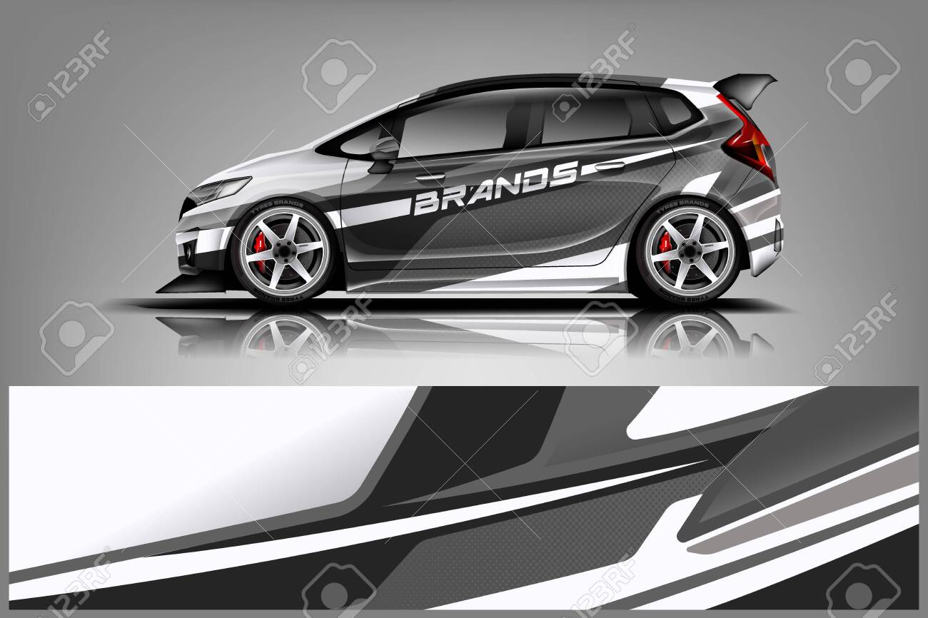 Car decal wrap design vector. Graphic abstract stripe racing background kit designs for vehicle, race car, rally, adventure and livery - Vector - 125574460