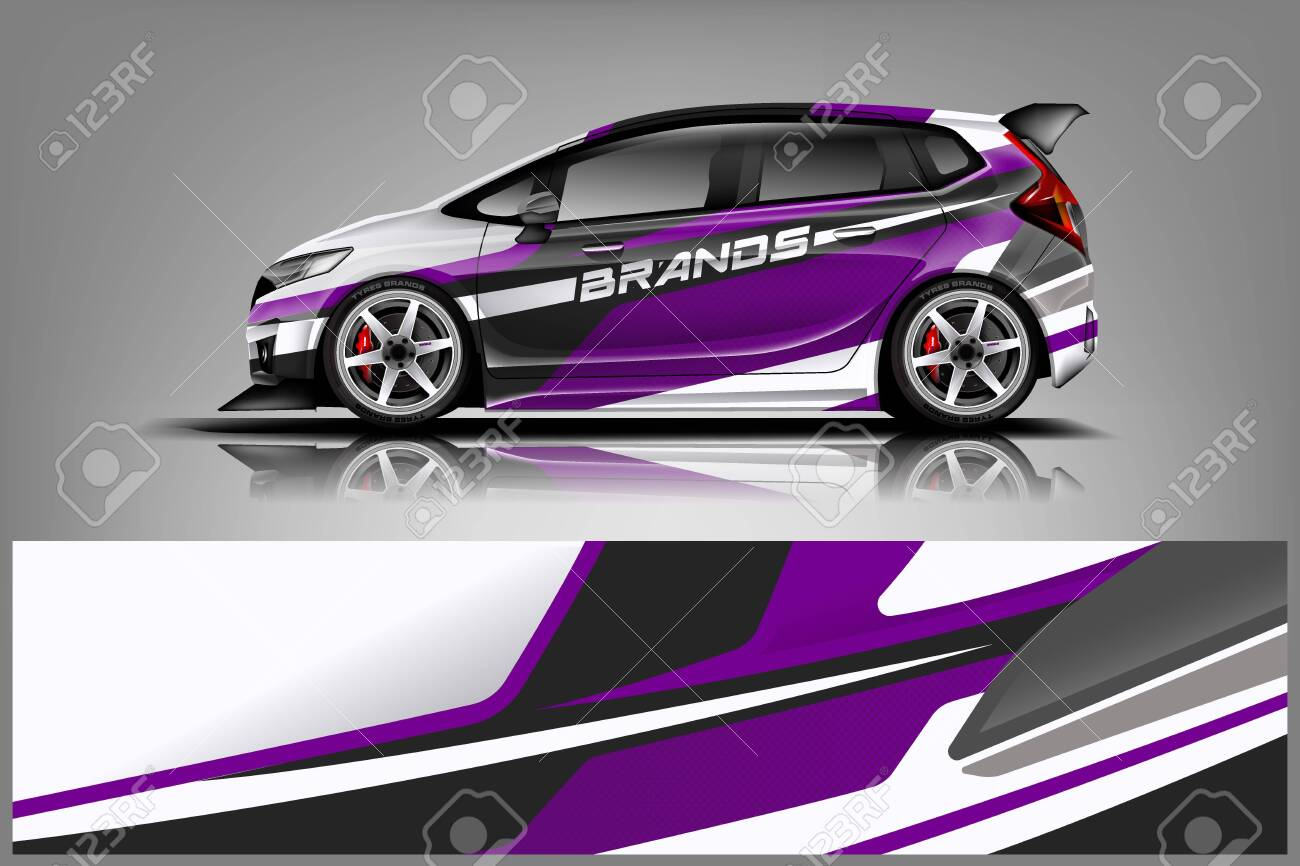 Car decal wrap design vector. Graphic abstract stripe racing background kit designs for vehicle, race car, rally, adventure and livery - Vector - 125574461