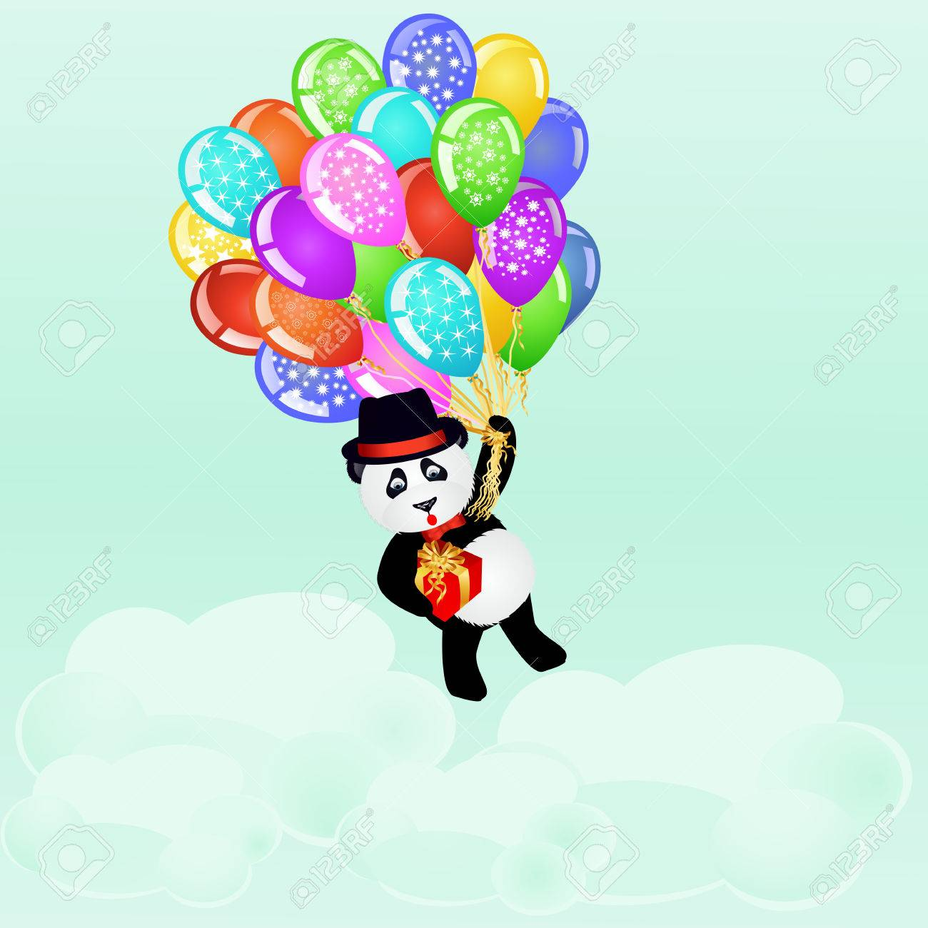 Cartoon Panda Flying With Birthday Balloons And Gift Above The Clouds Background Vector