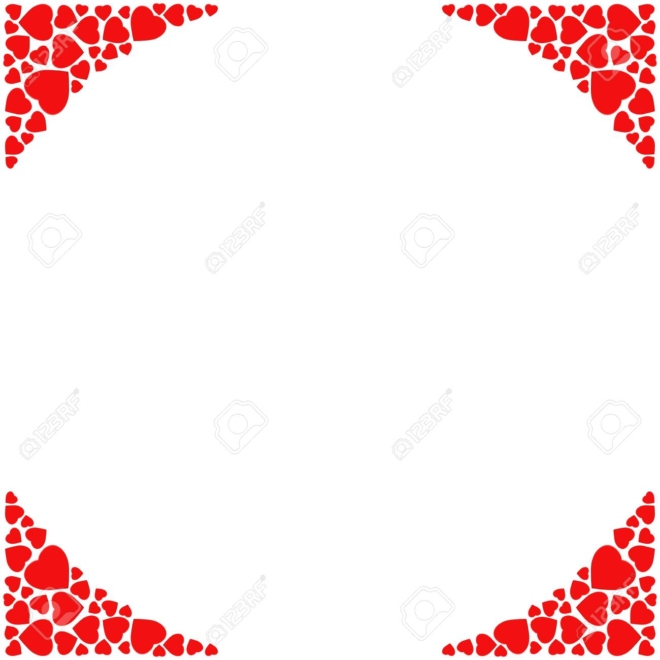 Romantic Corner Border On White Background Decorative Frame With Small Red Hearts Template For