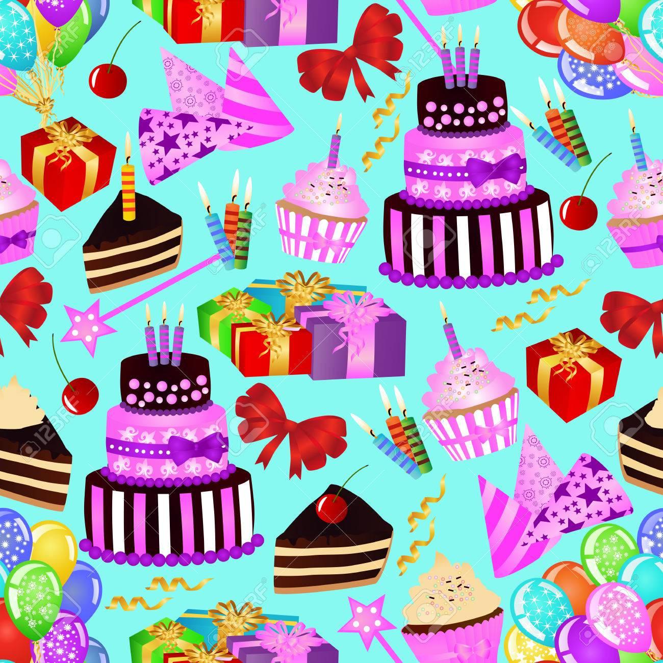 Birthday Seamless Pattern With Birthday Cake Cupcake Balloons