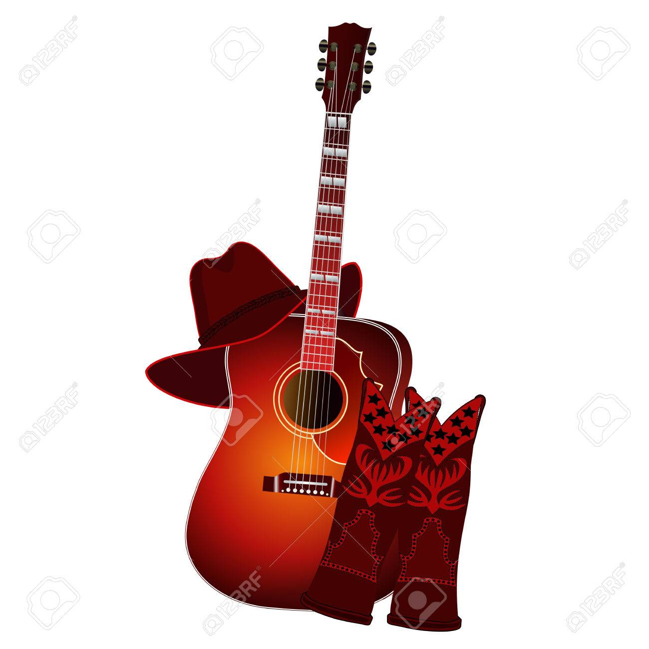 Fashion week Boots cowboy and hat and guitar photo for woman