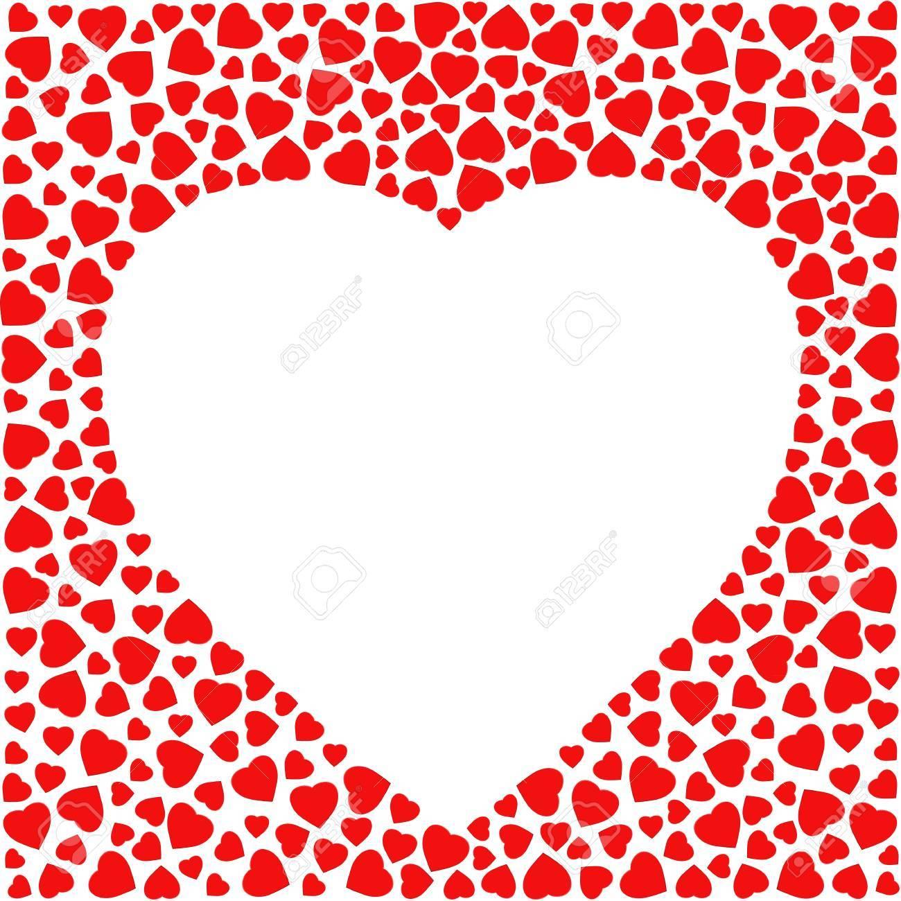 Image Avec Des Coeur border avec des coeurs rouges isolé sur fond blanc. modèle de