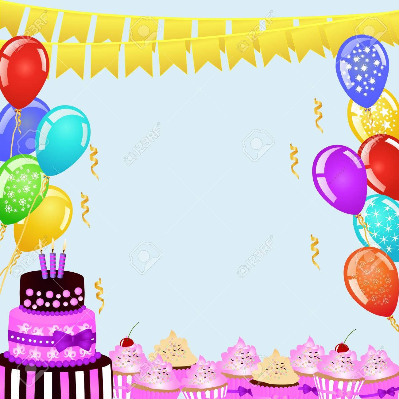 Sfondo Di Festa Di Compleanno Con Bandiere Palloncini Torta Di