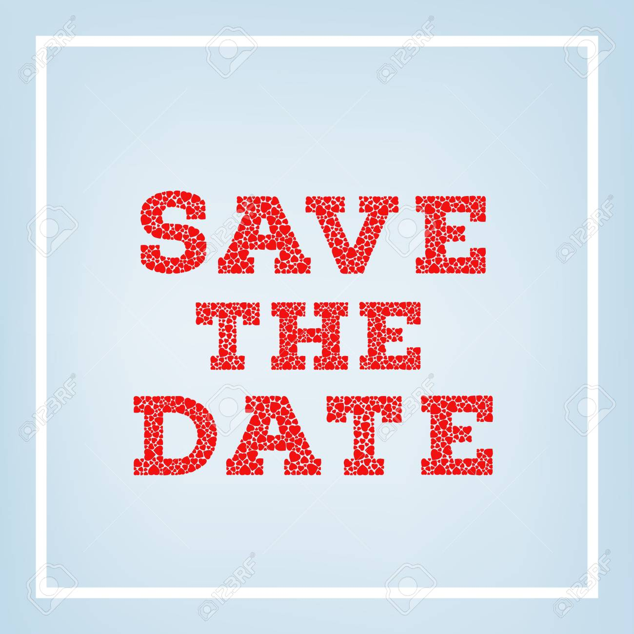 Save The Date Inscription Made Of Small Heart Shapes On Blue ...