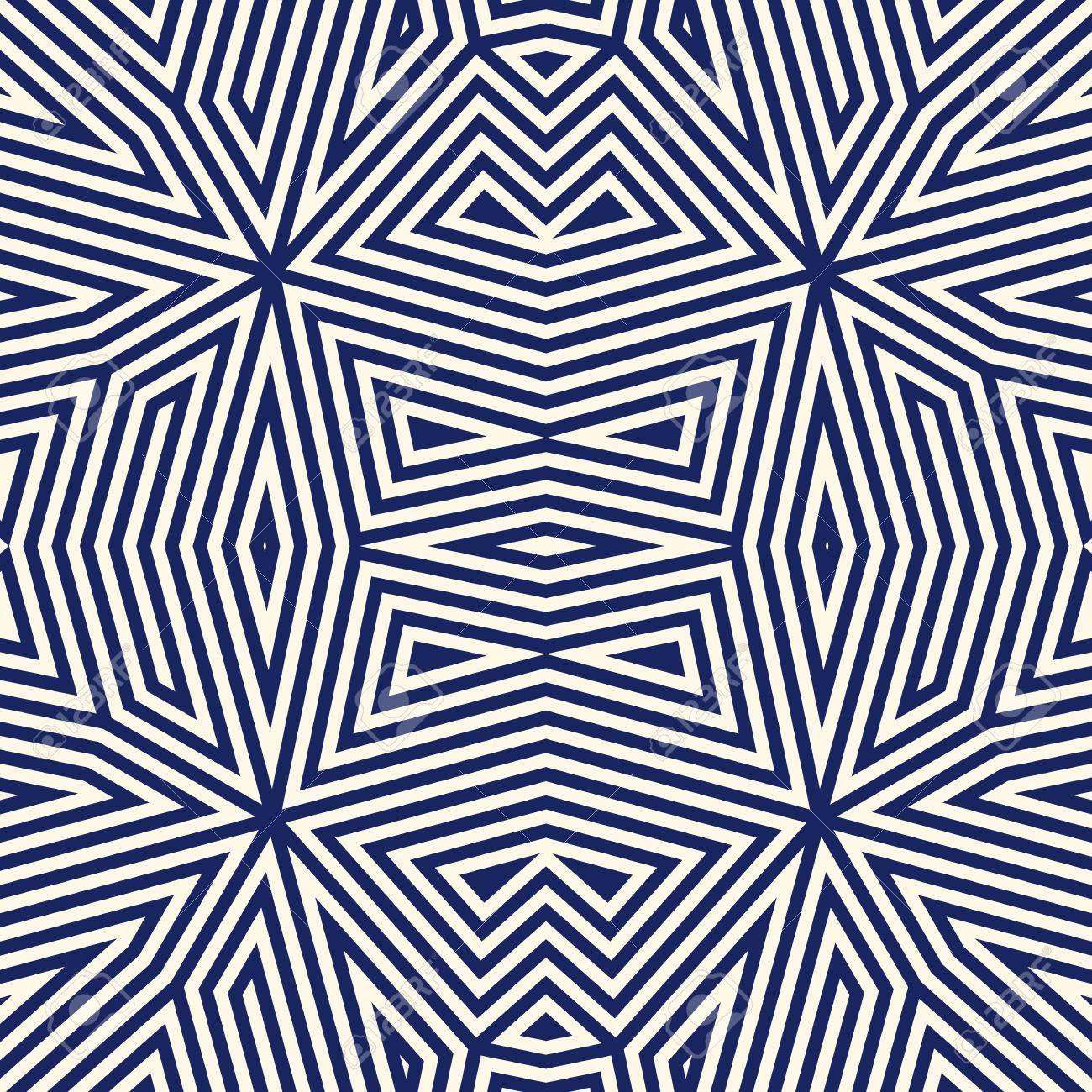 Seamless Avec Ornement Geometrique Symetrique Bleu Marine Abstraite