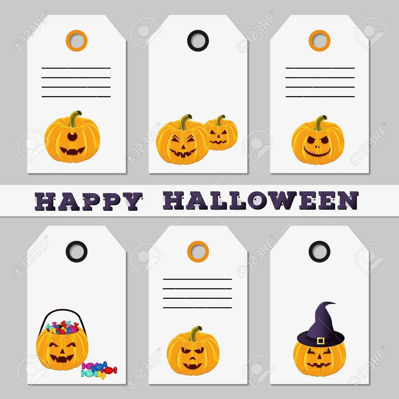 Set of Halloween sale discount offer or gift tags on white background. Template  sc 1 st  123RF.com & Set Of Halloween Sale Discount Offer Or Gift Tags On White ...