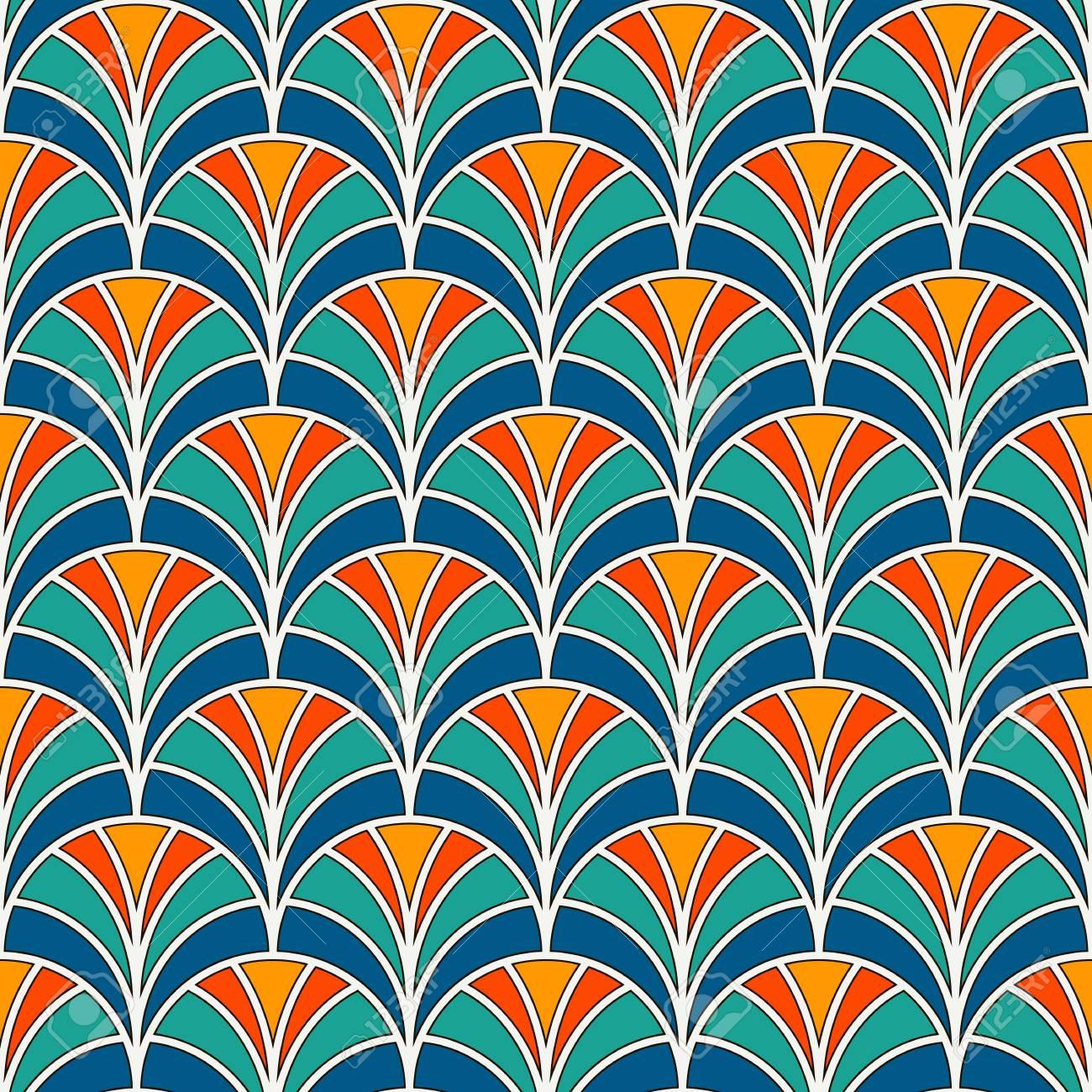 魚スケールの壁紙です 繰り返されたホタテとアジアの伝統的な飾り 手ファンのモチーフ 半円とのシームレスな表面パターン 東洋のデジタル ペーパー 繊維印刷 ページ入力 ベクター アートのイラスト素材 ベクタ Image