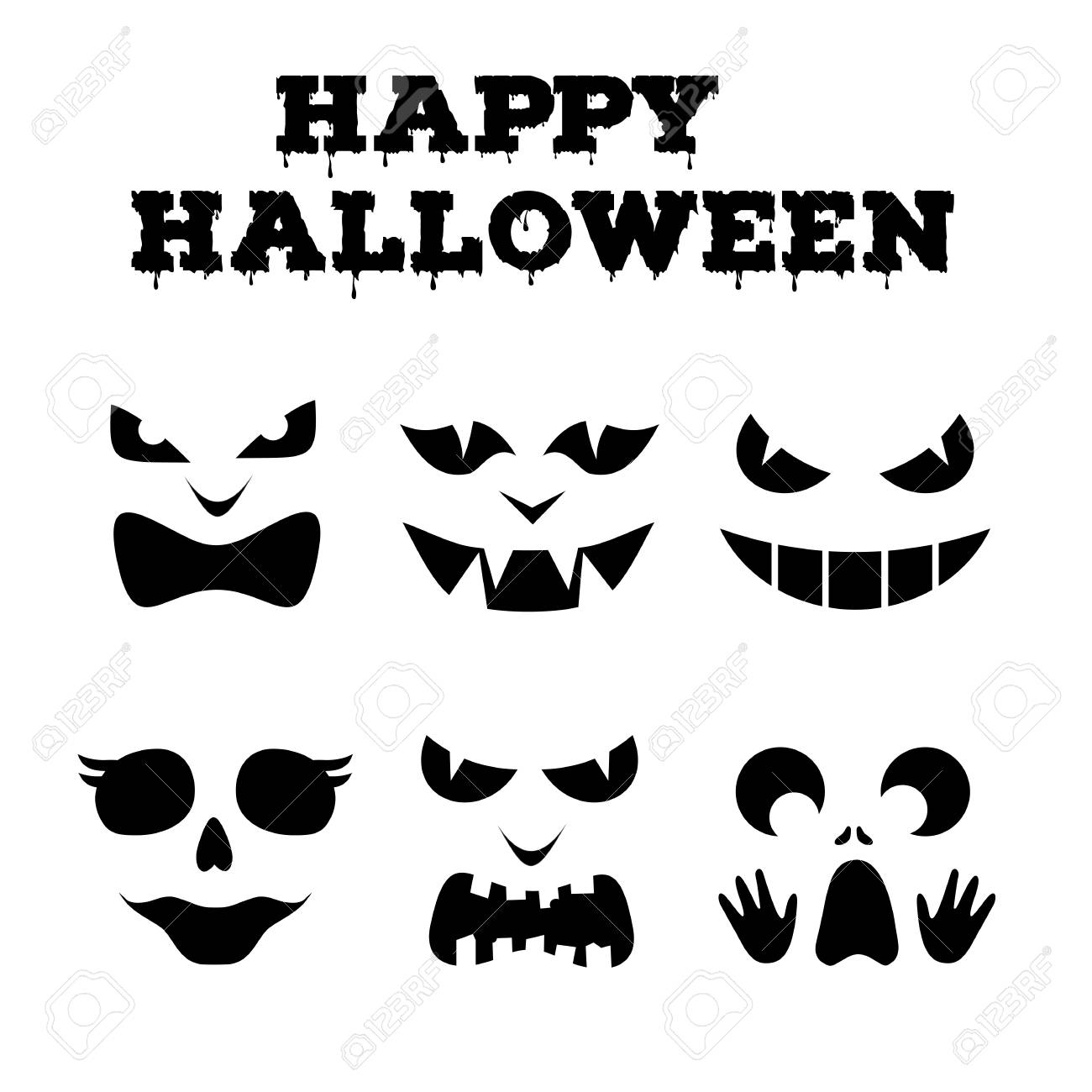 Collection Of Halloween Pumpkins Carved Faces Silhouettes. Black ...