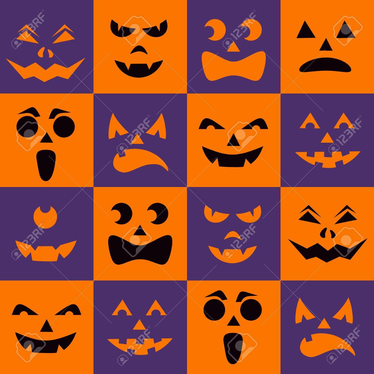 Patrón Sin Fisuras Con Calabazas De Halloween Negro Siluetas ...