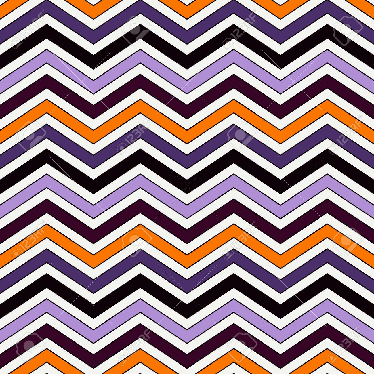 Chevron Diagonal Stripes Abstract Background Seamless Pattern In Halloween Traditional Colors Zigzag Horizontal Lines
