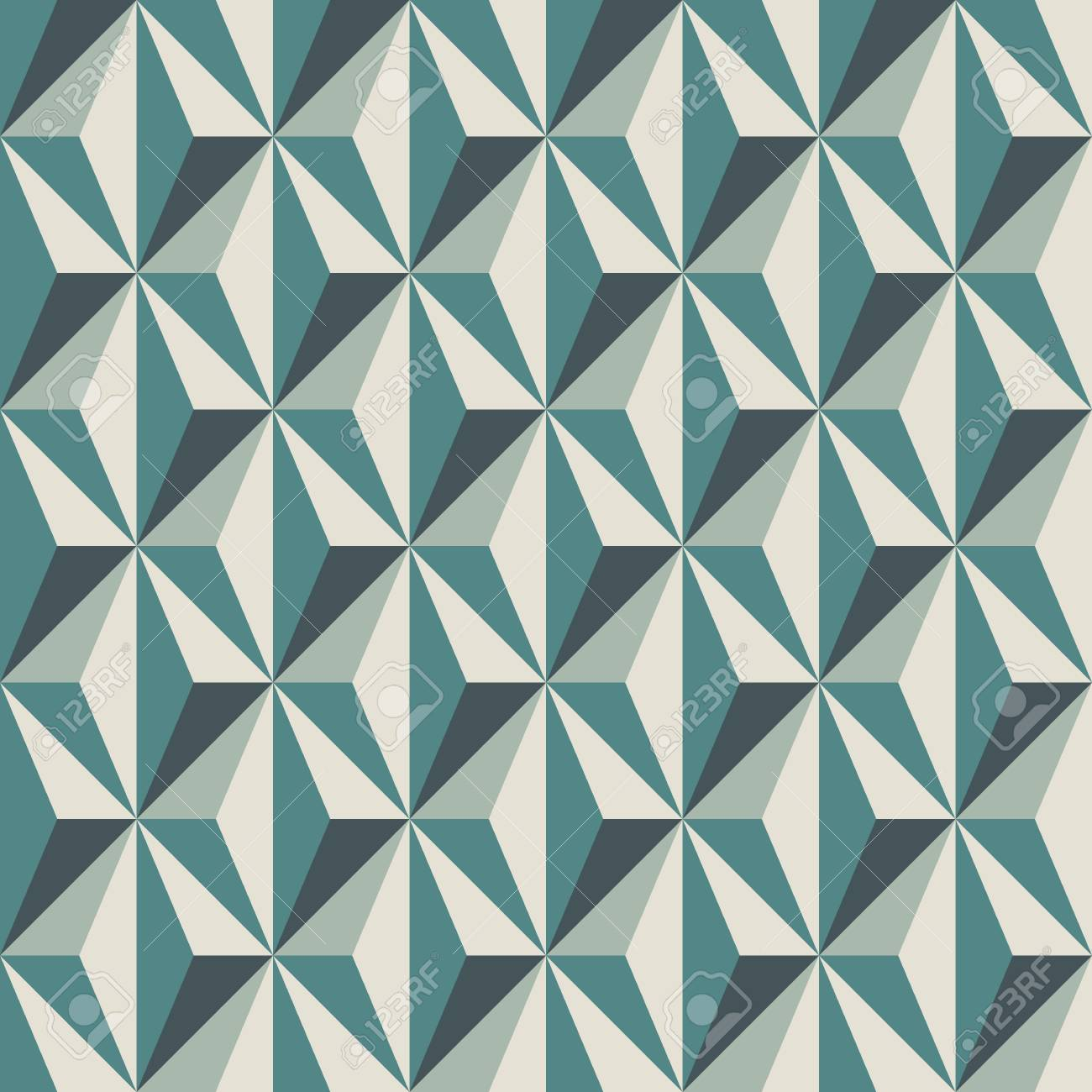 Geometric Abstract Background With 3d Effect Seamless Pattern